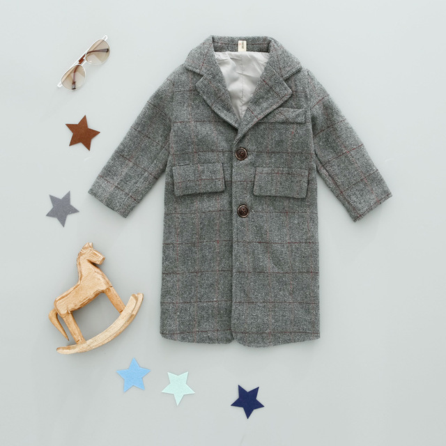 Autumn winter kids boy plaid wool coat for boys style england wool coat toddler girls long jackets children's windbreaker outfit