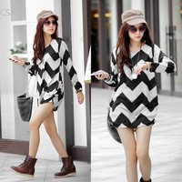Plus Sizes 2014 New Spring Women Stripes Long Sleeve Casual Loose Pullovers Knitted Sweater Dress Tops