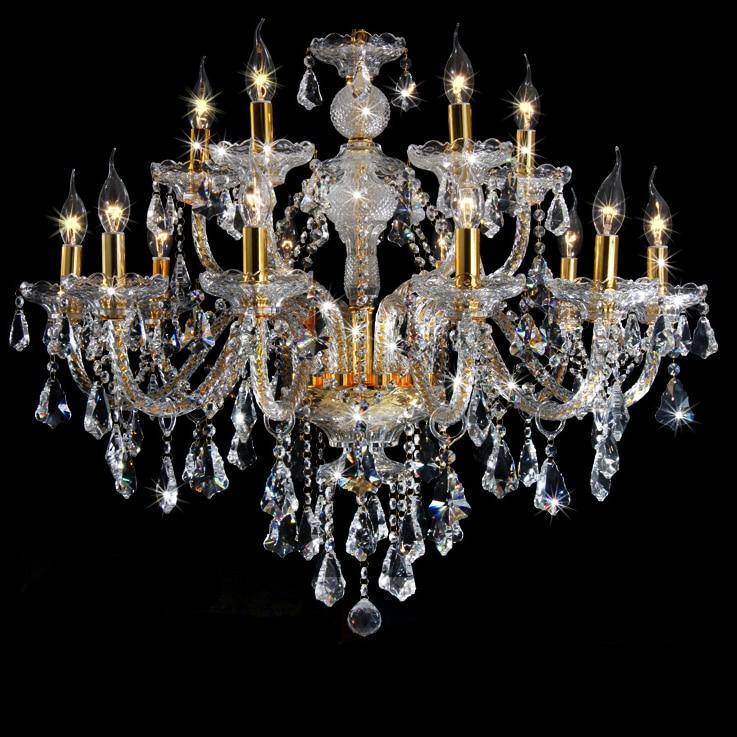 Livraison Gratuite 15 Bras Big Lustres Lustre En Cristal 100% K9 Or Noble Luxueux Exportation K9 Lustre En Cristal De Haute Qualité