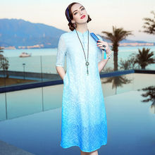 High Quality Elegant Women's Dress Chinese Style Coloouful Wintersweet Embroidery A-line Plus Size Long Silk Dresses