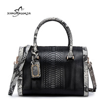 2017 Brand Fashion Women Top-Handle Bags Exquisite Serpentine Handbag Genuine Leather Female Tote Bag Ladies Shoulder Bags