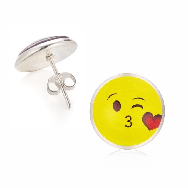 2017 Vintage Silver Color Emoji Jewelry Women Accessories Fashion Emoticons Glass Cabochon Stud Earrings Fine Jewelry