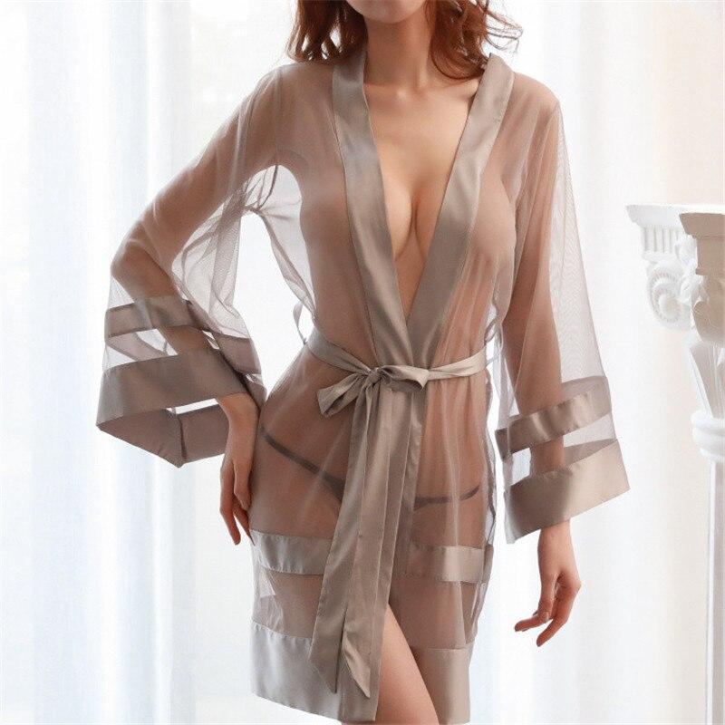 Womens Erotic Underwear Ladies Lingerie Thin Transparent Sexy Lingerie Babydoll Nightwear Sleepwear Robe AF0001