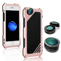 For iPhone 5/5S/SE/6/7/8 Plus Case Waterproof Shockproof Fisheye Wide Angle Macro Lens Mobile Phone Cover Protective Accessories