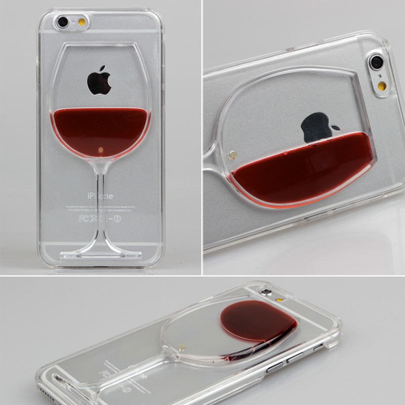 Luxury Liquid Quicksand Drink Cocktail Red Wine Goblet Beer Bottle Hourglass Clear Case For iPhone 6 6s 6 Plus 5 5s SE Case