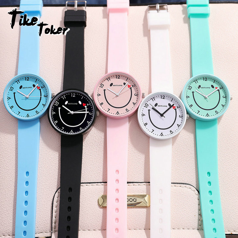 TIke Toker,Children's Wrist Watch Smile Face Quartz Silicon Band Students Colorful Girl Boy Kids Watch Clock Big Dial Womens 7