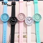 ①  TIke Toker  детские наручные часы Smile Face Кварцевый силиконовый ремешок Студенты Красочные Девочк ①