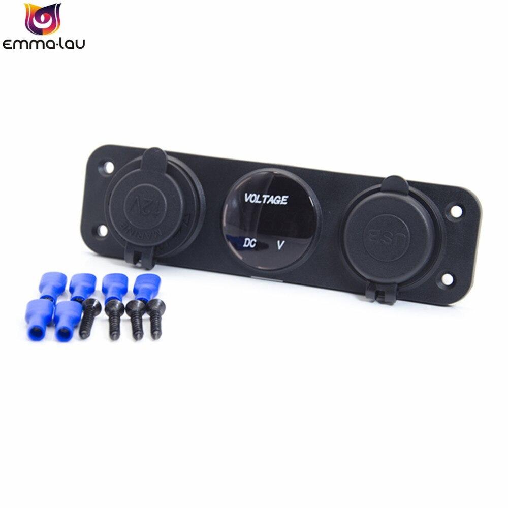 12V 24V Car Charger Cigaretter Lighter Dual USB Socket Adapter LED Digital Display Voltmeter Panel For Boat Vehicles (Blue)