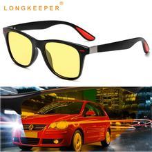 LongKeeper Rivet Night Vision Sunglasses Men Car Driving Glasses Polarized Sun Women Yellow Drivers Goggles