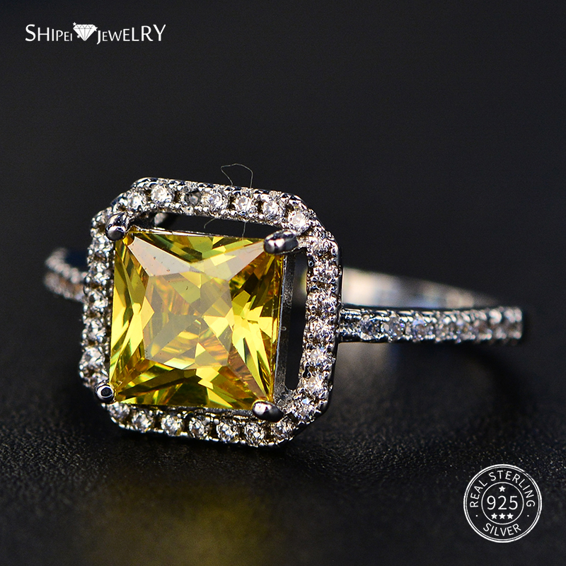 ShiPei 100% 925 Sterling Silver Yellow Pink White Purple Sapphire Ruby Emerald Square Engagement Ring For Women Valentines Gift