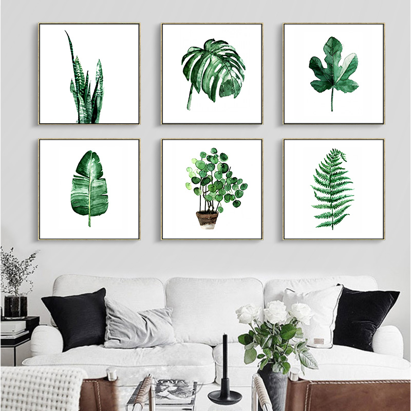 Diy high quality square watercolor plants poster canvas for Modern living room plants
