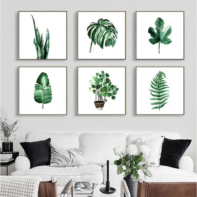 DIY de Alta qualidade Quadrado aquarela plantas planta Parede Arte ...