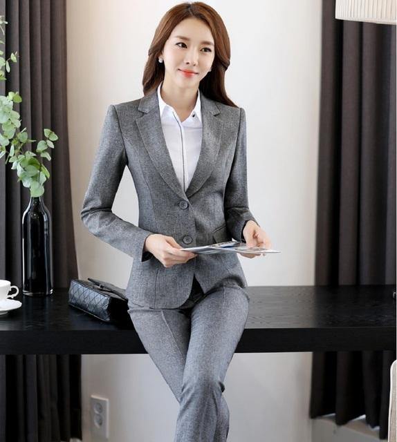 Chegada nova Ladies Escritório Ternos de Trabalho Com 2 Peça Casaco E Calças Calças Ternos Calças Terninhos Conjunto Profissional Formal Fêmea