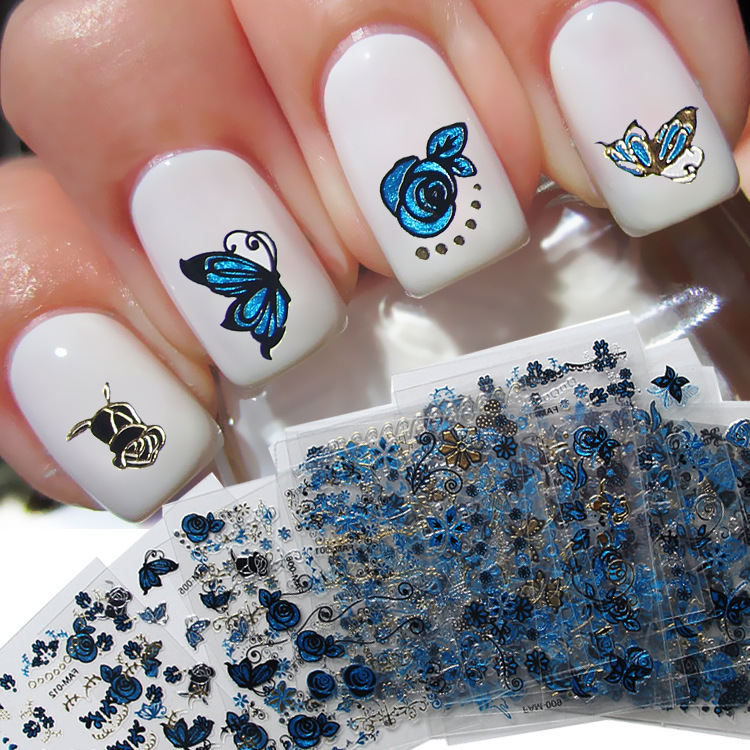 Random 2 Sheet 3D Water Decals Nail Art Stickers blue color butterfly flower design on Nails of Dandelions Stickers ManicureZ013