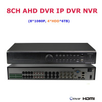 4 HDD 8 1080P 25fps AHD DVR Hybrid NVR IP Camera Video Recorder AVR 1080P Network