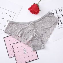 DEWVKV Lace Sexy Briefs Underwear Woman Transparent Panties Soft Solid Pink Red Gray Green claret Blue Black New Arrival 2019 ZC