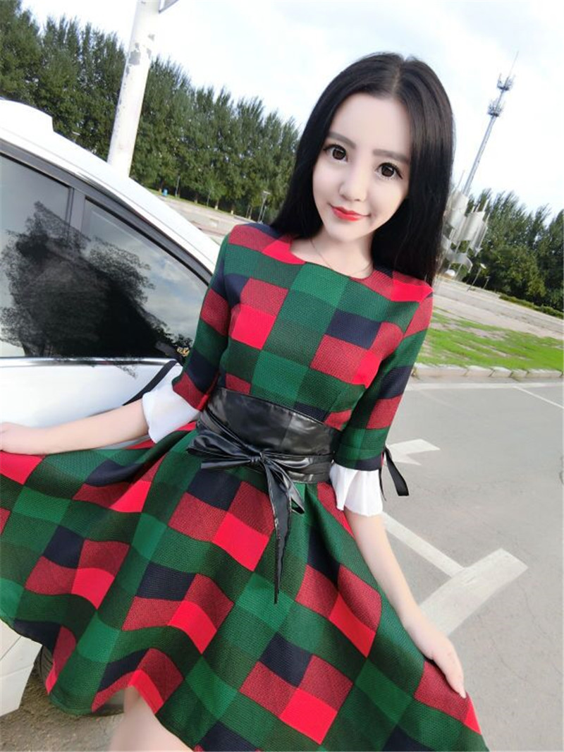 Cute Women dress Butterfly Sleeve Print Patchwork Slim Send Waistlt Dresses 2752