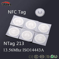 10pcs/Lot NFC TAG Sticker 13.56MHz ISO14443A NTAG 213 Label RFID Key Tags llaveros llavero Token Patrol Badge Ntag215 Ntag216