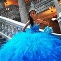 16 vestidos sem mangas azul babados de Organza Quinceanera 15 anos vestidos de 15 anos princesa