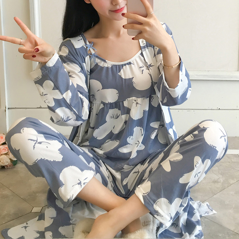 2018 Sring Summer female print cute 3 pieces Floral   pajamas     sets   women sexy floral cotton Sleepwear bathrobe pyjamas Pants suits