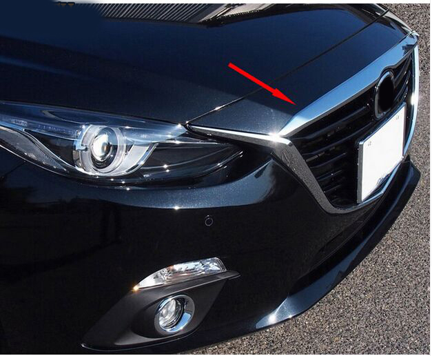 ACCESSORIES FIT FOR 2014 2015 2016 Mazda 3 Axela CHROME FRONT HOOD COVER TRIM MOLDING GRILLE BONNET GARNISH GRILL STRIP BAR for mazda 3 axela 2014 2015 2016 abs chrome front grille trim center grill cover around trim car styling accessories 11 pcs set