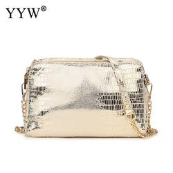 PU Leather Crossbody Bag african style jewelry with chain & embossing Square Shape snakeskin pattern