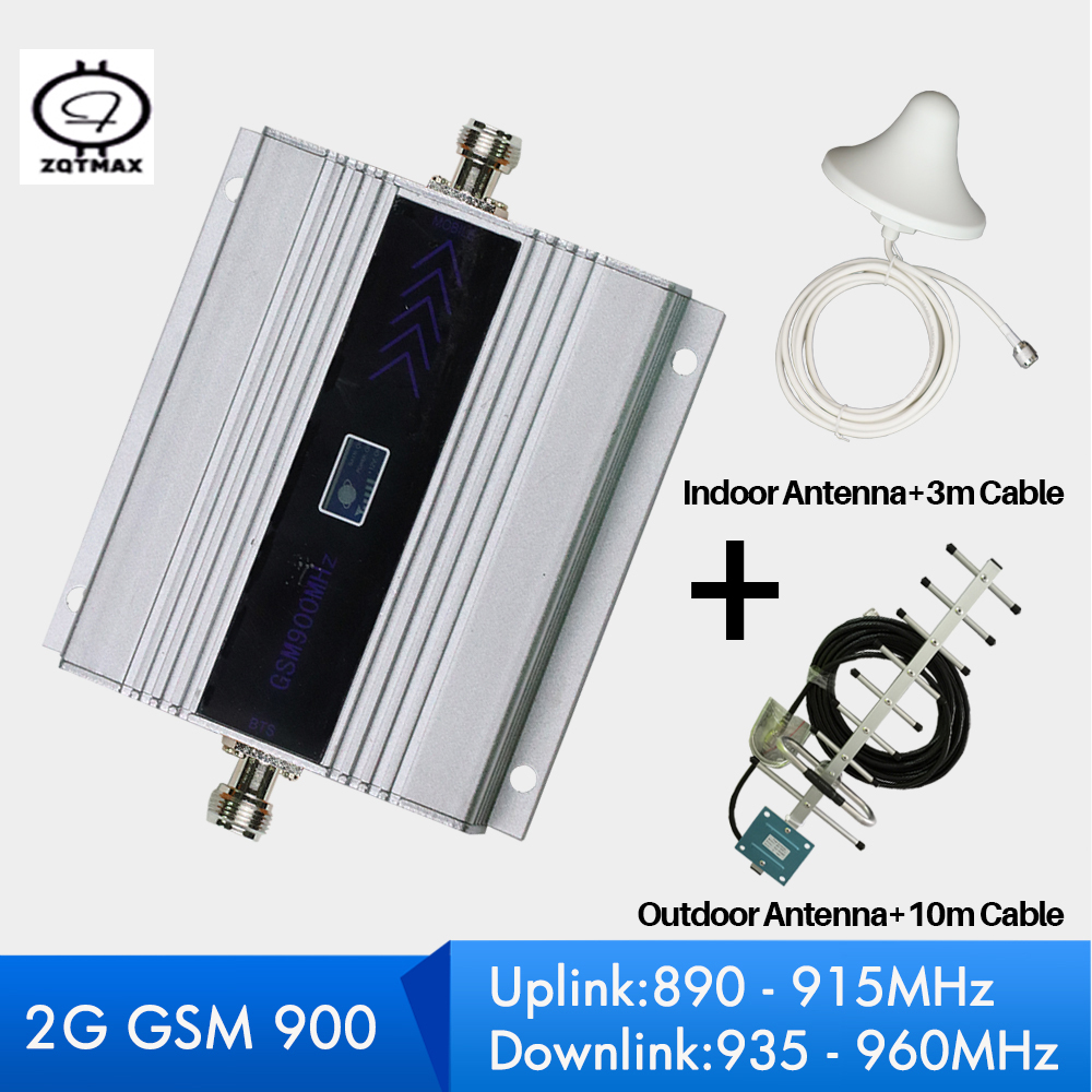 ZQTMAX 60dB 2G GSM Repeater 900  Signal Booster Mobile Cellular Amplifer With Antenna And Cable Full Set For Home Office Use