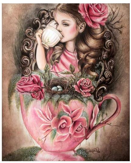 Needlework for embroidery DIY DMC Cross stitch kits Girl in a cup pattern 14ct canvas counted