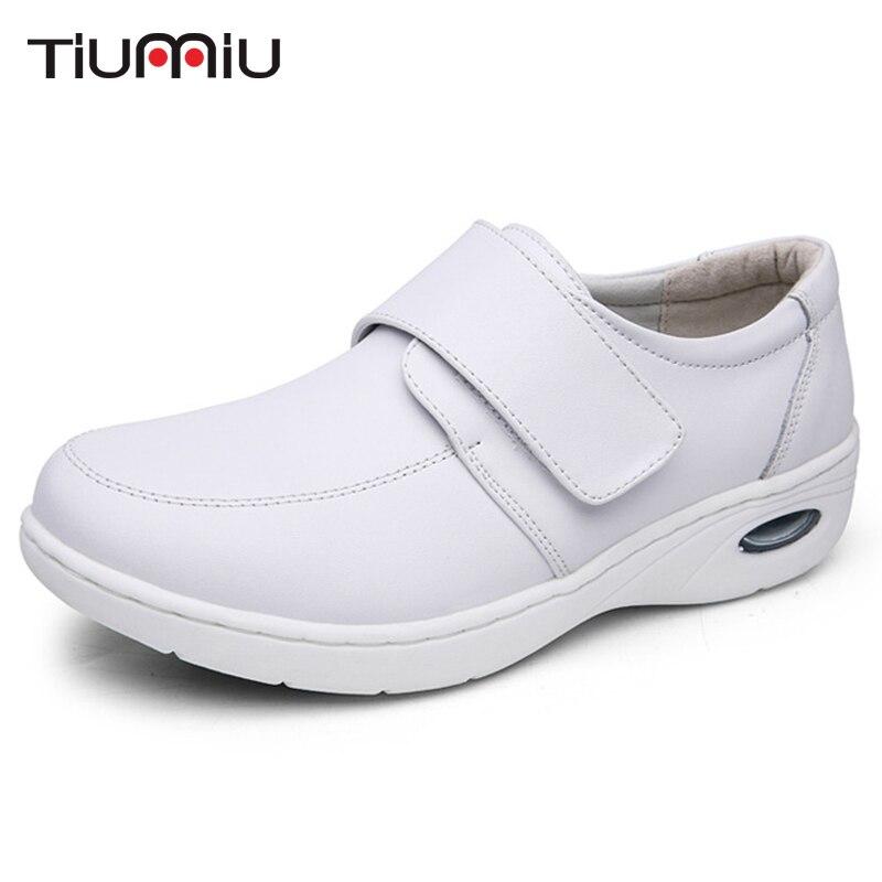 2018 Doctor Nurse Workwear Shoes Female Cushion Soles Flat Shoes Hospital Clinic Hook&Loop Anti-slip Shockproof Medical Footwear