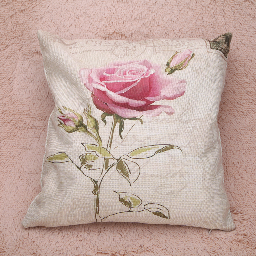 Chinese Wealth Rose Garden Home Decor Cushion Cover Fresh Flowers Linen Cotton Pillow Cove Decorative Throw Pillows