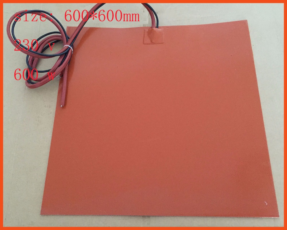 Gomma di silicone 3d stampante heater 600*600mm 230 v 600 w heating element for Aircraft instruments and hydraulic equipment pad