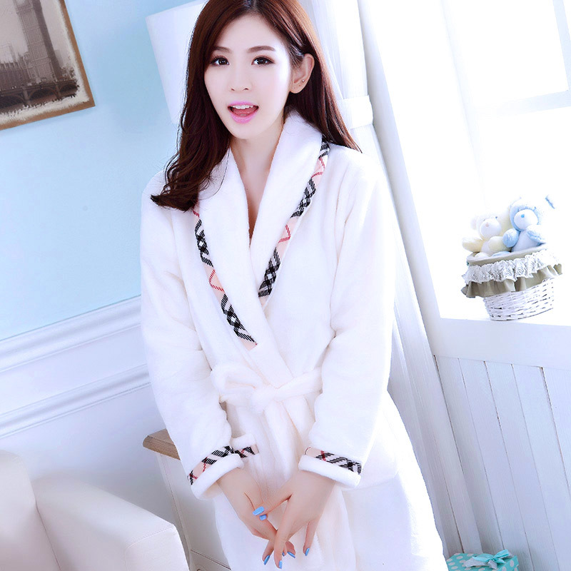 Women Coral Fleece Bathrobes Lady Warm Winter Robes White Red Pajama Thick Solid Long Robe Lounge Warm Robes Dressing Gowns in Robes from Underwear Sleepwears