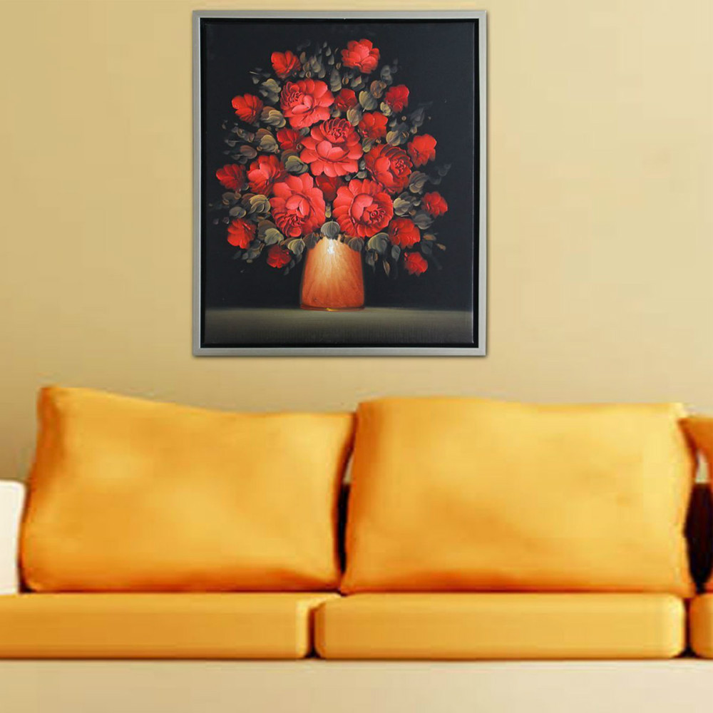Hand Painted Modern Abstract Beautiful Wall Art Black Red Rose Oil ...