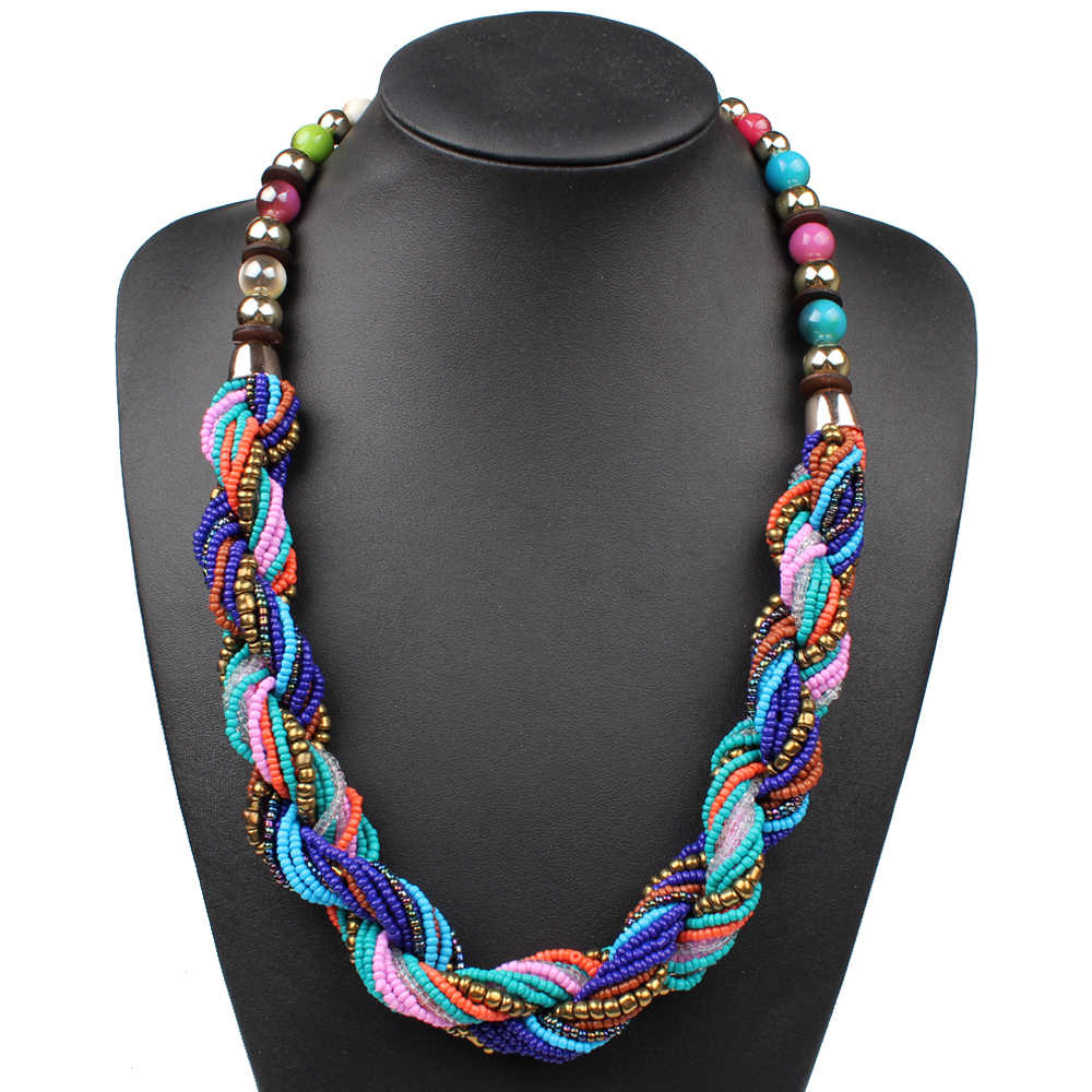 Claire Jin Small Beads Bohemian Necklace Women Boho Jewelry Strand Multi Layers Twisted Summer Fashion Choker Vintage Necklaces