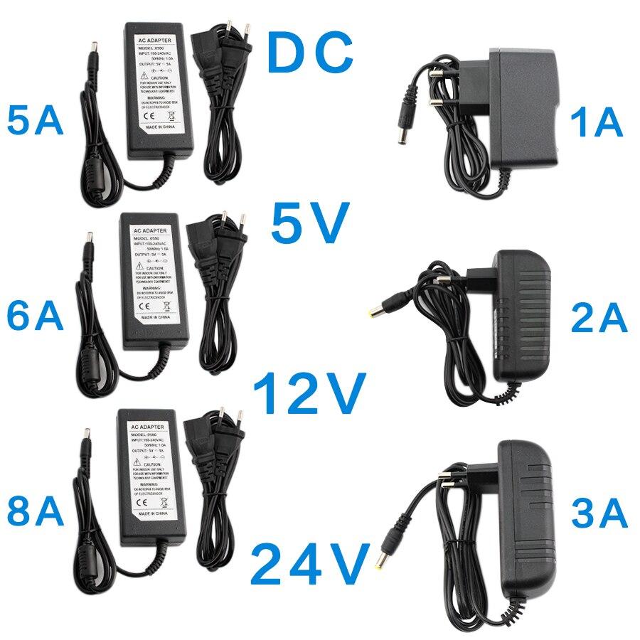 DC 5V 12V 24 V adaptador de fuente de alimentación 1A 2A 3A 5A 6A 8A AC DC transformadores 220V a 12V 5V 24 V adaptador de fuente de alimentación 5 12 24 V voltios|Transformadores de iluminación|   - AliExpress