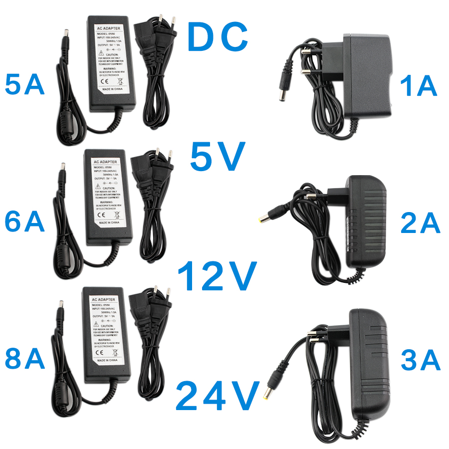 DC 5V 12V 24V Power Supply Adapter 1A 2A 3A 5A 6A 8A AC DC Transformers 220V To 12V 5V 24V Power Supply Adapter 5 12 24 V Volt
