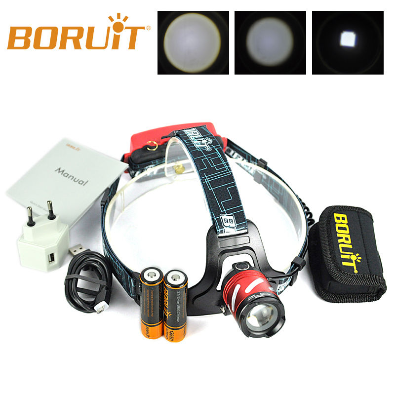 BORUiT B9 LED XP-G2 R5 3 Modes Rechargeable Zoomables SOS sifflet 18650 PCB Batterie MICRO USB Camping Phare de Phare ROUGE