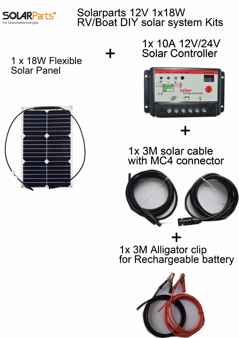 BOGUANG 12V 18W DIY RV Boat Kits Solar System 18W flexible solar panel 10A solar controller 1 set 3M MC4 cable 1 set clip sp 36 120w 12v semi flexible monocrystalline solar panel waterproof high conversion efficiency for rv boat car 1 5m cable