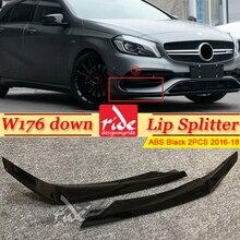 For MercedesMB W176 Down Lip Splitters ABS Black A-Class A180 A200 A250 Front Bumper Air Vent Molding Trim canards 16+