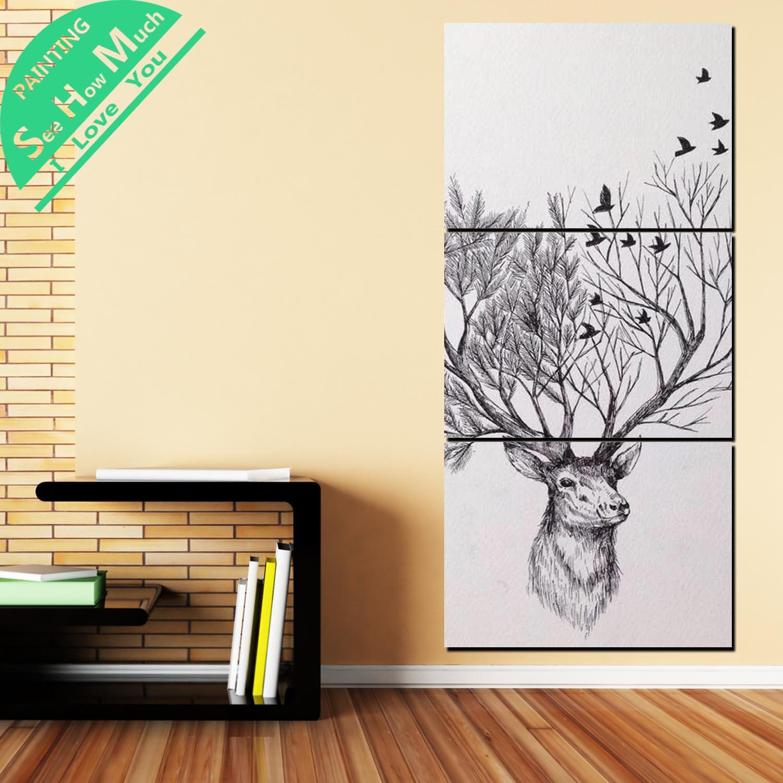 купить!  3 Шт. Олень Абстрактные Картины Wall Art HD Печатные Холст Картины с Картинками Украшения для