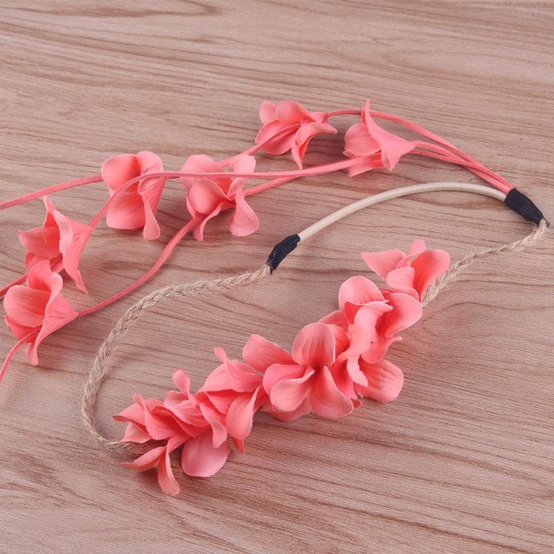 MWsonya Fashion Bridal Floral Headbands Braid Ripe Hairband Flowers Tassel Wedding Hair Accessories HA342