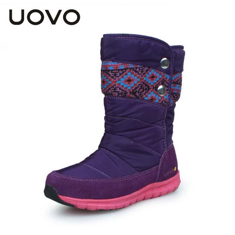 UOVO marque bottes pour enfants 4-16 ans garçons filles mode bottes Plus coton russe hiver enfants bottes décontracté filles longue sneaker