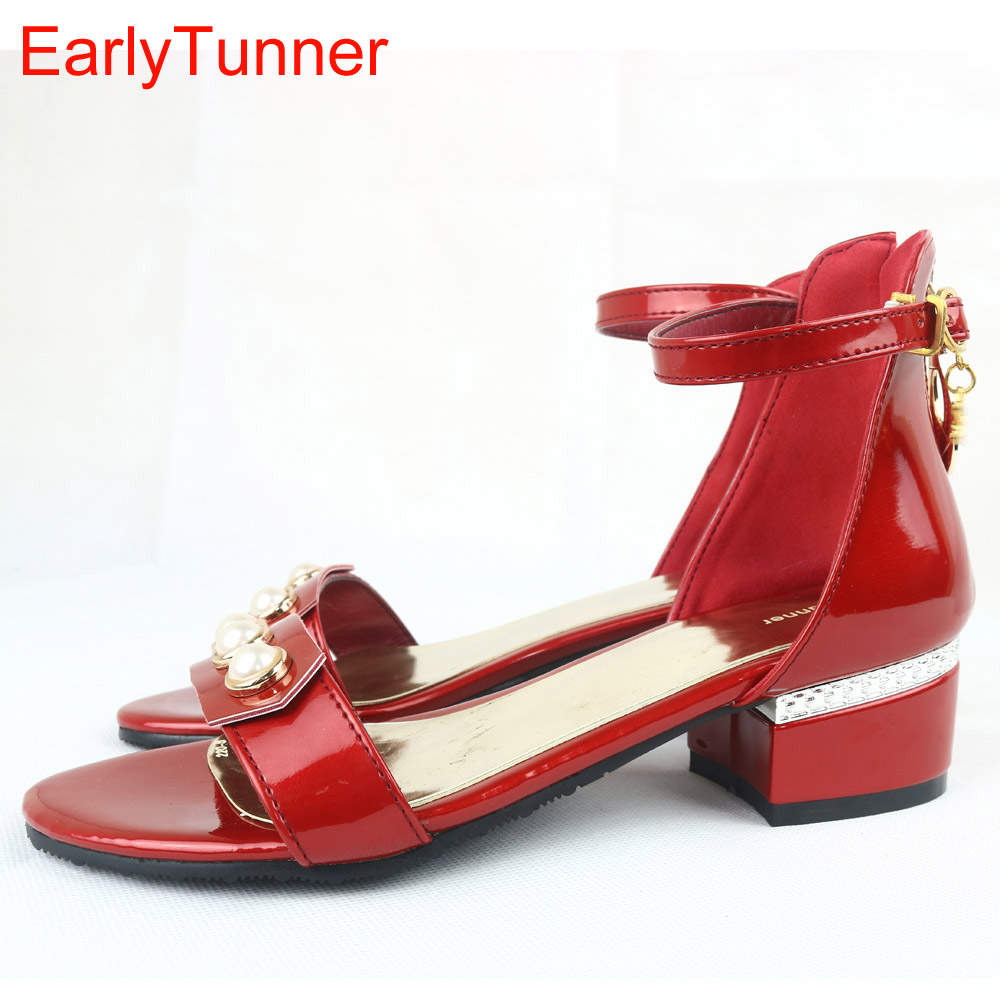Brand New Fashion Women Casual Sandals Red Silver Beige Elegant Ladies Shoes low Square Heel EY7-3 Plus Big Size 12 31 43 48 2016 new deluxe brand golden goose uomo donna fashion women men casual low cut shoes original box eur 35 46