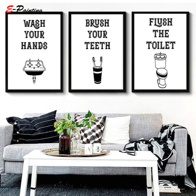 Modern Canvas Painting Picture Funny Bathroom Art Wash Brush Flush