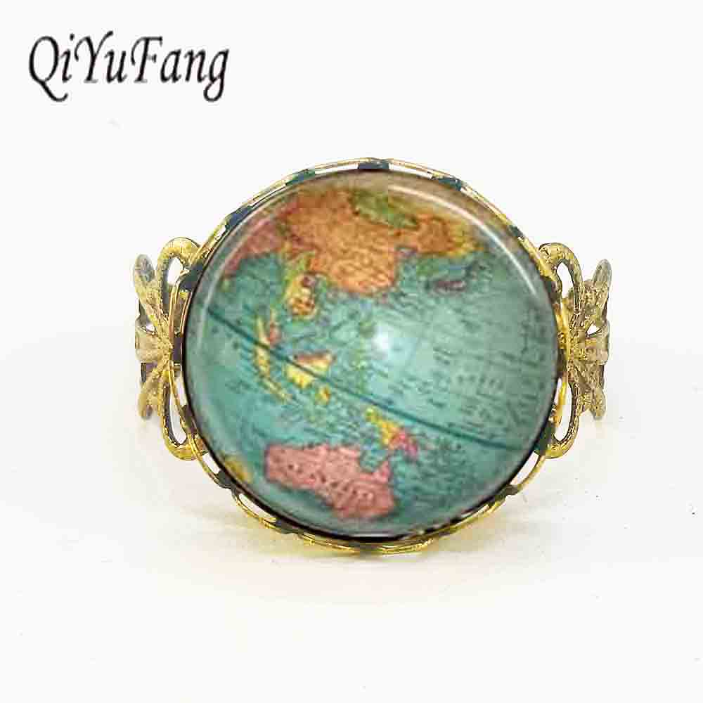 Vintage Globe Ring planeet aarde wereldkaart Art Ring drop verzending glazen koepel heren dames 1pcs / lot antieke reiziger star wars hot