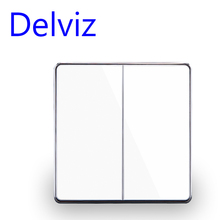 Delviz EU standard Luxury White/Black Crystal Glass Panel, 16A 250V,Two Gangs,2 Way Push Button Home Wall Switch UK power switch