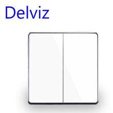 Delviz-Interruptor de pared con Panel de cristal para el hogar, pulsador estándar europeo de lujo de 16A 250V, 2 vías, interruptor de encendido UK, Blanco/negro