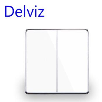 цена на Delviz EU standard Luxury White/Black Crystal Glass Panel, 16A 250V,Two Gangs,2 Way Push Button Home Wall Switch UK power switch