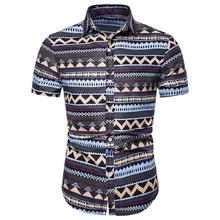 Men Shirts Social Hawaiian style Summer New model Blouse Mens Clothing Slim fit Short sleeve