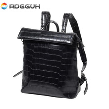 RDGGUH Brand Fashion Leather Backpack Men Leisure Laptop Backpacks High Quality Crocodile Pattern School Bags For Teenager Boys